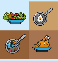 set nutrition vegetables and fruits with proteins vector image