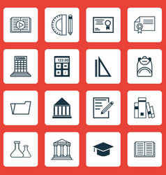 Set of 16 school icons includes chemical vector