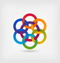 seven interlocked circles in gradient rainbow vector image