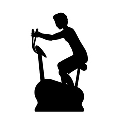 Silhouette with man static bicycle vector