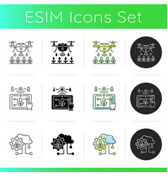 Smart agriculture icons set vector