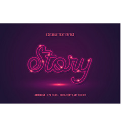 text effect glow editable text vector image