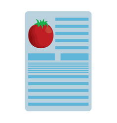 tomato nutrition facts label template vector image
