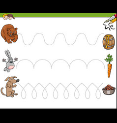 trace lines writting skills workbook for kids vector image
