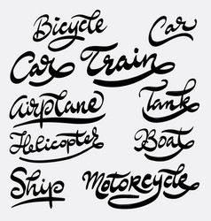 Train and helicopter hand written typography vector