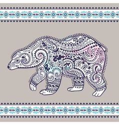Tribal hand drawn totem bear vector image