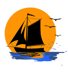 tropical evening sunset boat vector image