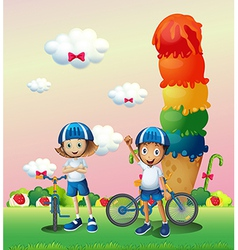 Two teenagers in a land full of sweets vector image