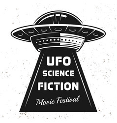 Ufo with text science fiction movie festival vector
