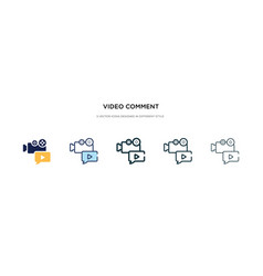 video comment icon in different style two vector image