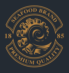 Vintage emblem with an octopus tentacle vector