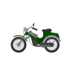 Vintage green-gray motorcycle small road vector