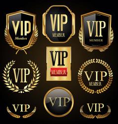 vip golden laurel wreaths badges and shields vector image