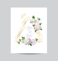Wedding invitation floral template white peonies vector