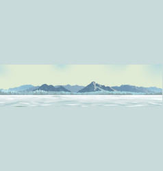 White glade against the background of mountains vector