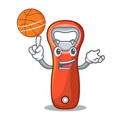 With basketball beer bottle opener isolated on vector
