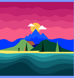With man silhouette mountain landscape ocean vector