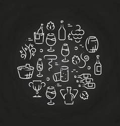 drinks line icons - wine logo on chalkboard vector image vector image
