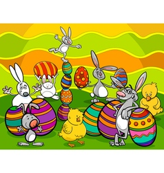 easter characters group cartoon vector image vector image