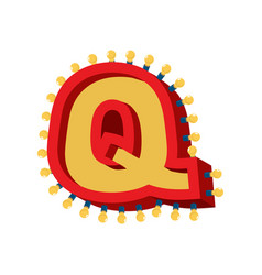 letter q lamp glowing font vintage light bulb vector image