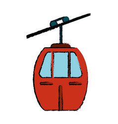 red cable car transport icon vector image