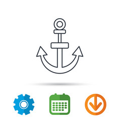 anchor icon nautical drogue sign sea symbol vector image