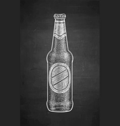 chalk sketch of beer bottle vector image vector image
