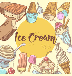 ice cream hand drawn menu design vector image vector image