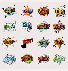 pop art comic speech bubbles popart style vector image