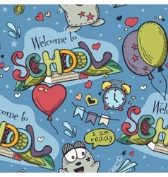 Seamless texture with blue school doodles vector image vector image