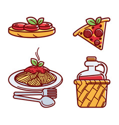 set of italian food vector image