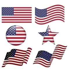 Set of USA flag designs vector image vector image