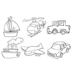 Silhouettes of the different transportations vector image