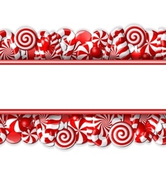 Sweet banner with red and white candies vector image