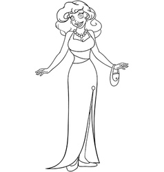 African Woman In Evening Dress Coloring Page vector image