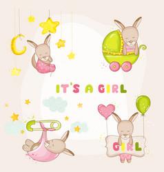 baby girl kangaroo set - for baby shower cards vector image