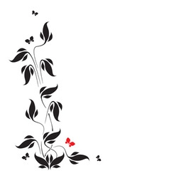 Butterflies and leaves vector image