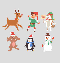 christmas characters cute cartoon reindeer vector image