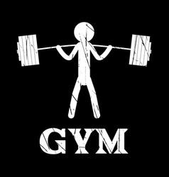 gym squat icon human grunge symbol flat vector image