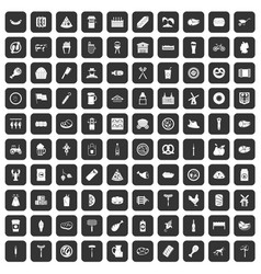 100 meat icons set black vector