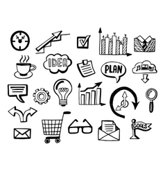 Business doodles icons set vector image vector image