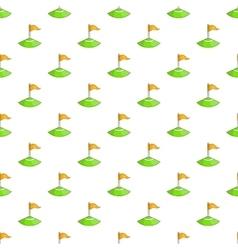 Corner flag on soccer field pattern cartoon style vector