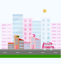 fast food and donuts buildings town view pink vector image