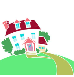 house on a top of a hill in spring or summer vector image vector image