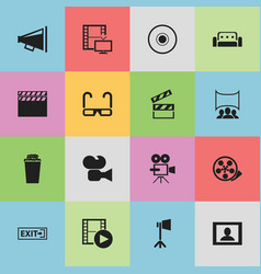 set of 16 editable filming icons includes symbols vector image vector image