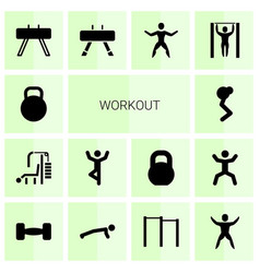 14 workout icons vector