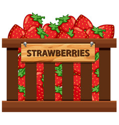 A crate of strawberries vector