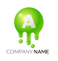a letter splash green dots and bubbles letter vector image