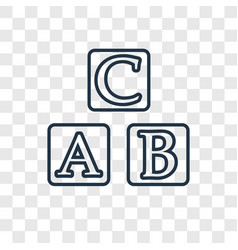 abc concept linear icon isolated on transparent vector image