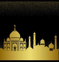 Abstract gold arab city seamless pattern with vector